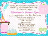 Text for An Invitation for A Birthday Party Spa Party Birthday Invitation Card Customize by
