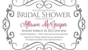 Text for Bridal Shower Invitation Bridal Shower Invitation Gray and Pink Bride Shower