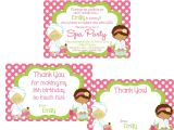 Thank You for Birthday Party Invitation Girls Spa Party Invitation and Thank You Notes