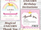 Thank You for Birthday Party Invitation Unicorn Birthday Party Invitations and Thank You Notes