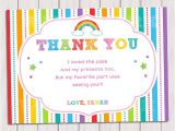 Thank You Letter for Invitation to Birthday Party Rainbow Thank You Card Rainbow Birthday Note Card