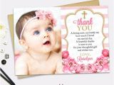 Thank You Message for Baptism Invitation Pink Gold Thank You Card Girl Floral Picture Thank You
