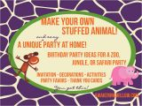 Thanks for Invitation Birthday Party Make Your Own Stuffed Animals Birthday Party Decorations