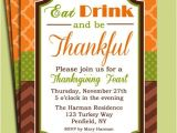 Thanksgiving Party Invitation Message Eat Drink and Be Thankful Thanksgiving Invitation Printable