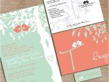 The Mint Wedding Invitations Mint Green and Coral Wedding Invitations Custom Love Birdies