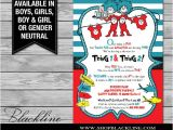Thing One and Thing Two Baby Shower Invitations Printable Dr Seuss Baby Shower Invitations for E Baby