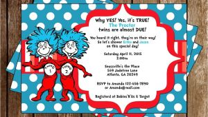 Thing One Thing Two Baby Shower Invitations Novel Concept Designs Thing 1 and Thing 2 Twins Baby