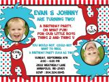 Thing One Thing Two Birthday Invitations Dr Seuss Thing 1 Thing 2 Twins Birthday Party Invitation