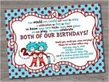 Thing One Thing Two Birthday Invitations Thing 1 and Thing 2 Birthday Party Invitations