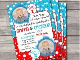 Thing One Thing Two Birthday Invitations Twin Thing 1 and Thing 2 Birthday