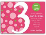 Third Birthday Invitation Quotes Birthday Bubbles Pink Green Third Party Invitations
