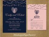 Thumbprint Heart Wedding Invitation Thumbprint Heart Wedding Invitationnavy and Blushheart