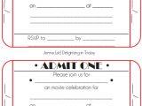 Ticket Birthday Invitation Template Movie Ticket Birthday Invitations Free Printable In 2019
