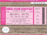 Ticket Birthday Invitation Template Rockstar Birthday Party Ticket Invitations Template Pink