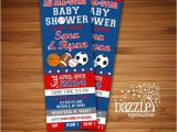 Ticket Invitations for Baby Shower Printable All Star Sports Ticket Baby Shower Invitation