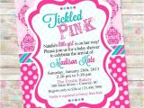 Tickled Pink Party Invitations Tickled Pink Baby Shower Invite Baby Girl Shower Damask