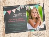 Tickled Pink Party Invitations Tickled Pink Bunting Birthday Invitation