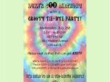 Tie Dye Party Invitations Printable Free Printable Tie Dye Birthday Party Invitations Template