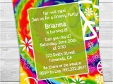 Tie Dye Party Invitations Printable Peace Tie Dye Birthday Party Invitation Professionally