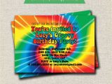 Tie Dye Party Invitations Printable Rainbow Tie Dye Birthday Party Invitation 60s 70s Hippy
