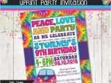 Tie Dye Party Invitations Printable Tie Dye 60 39 S Hippie Party Invitation Peace by