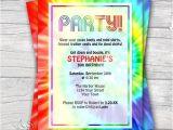 Tie Dye Party Invitations Printable Tie Dye Retro 1960 39 S Editable Pdf Party Invitation
