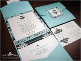 Tiffany Blue Pocket Wedding Invitations Tiffany Blue and Black Wedding Invitation Pocket Fold