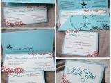 Tiffany Blue Pocket Wedding Invitations Tiffany Blue Teal Red Beach Coral Wedding Invitations