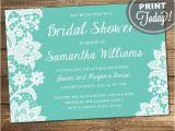 Tiffany Blue Wedding Bridal Shower Invitations Lace Bridal Shower Invitation Wedding Shower Invitation