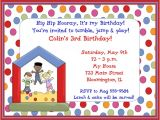 Toddler Birthday Party Invitations Kids Bounce House Birthday Party Invitations