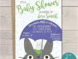 Totoro Party Invitations totoro Baby Shower Invitation 5×7 Rain Blue My Neighbor