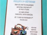 Tow Mater Birthday Invitations Items Similar to Mater Birthday Party Invitation Cars