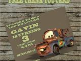 Tow Mater Birthday Invitations tow Mater Birthday Invitation Diy Custom order