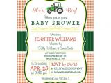 Tractor Baby Shower Invitations Green Farm Tractor Boy Baby Shower Invitation Postcard