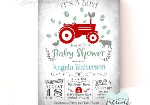 Tractor Baby Shower Invitations Red Tractor Baby Shower Invitation Boy Baby Shower Invitation