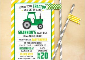 Tractor Baby Shower Invitations Tractor Baby Shower Invitation Printable Green Yellow
