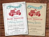 Tractor Baby Shower Invitations Tractor Baby Shower Invitation Rustic Wood Burlap Vintage