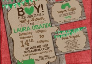 Tractor Baby Shower Invitations Tractor Baby Shower Invitation Set with Diaper Raffle and