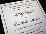 Traditional Wedding Invitation Font Classic Black Border On Cream Linen Wedding Invitations