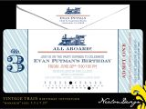 Train Tickets Birthday Invitations Nealon Design Vintage Train Ticket Birthday Invitation