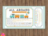 Train Tickets Birthday Invitations Train Ticket Invitation All Aboard Turquoise orange Gray