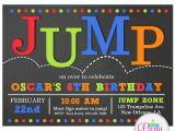 Trampoline Birthday Party Invitations Free Jump Invitation Printable or Printed with Free Shipping