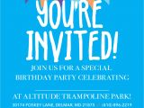 Trampoline Park Birthday Invitations Birthday Parties Altitude Trampoline Park Delmar