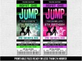 Trampoline Park Birthday Party Invitations Jump Ticket Invitations Bounce House Trampoline Park Neon
