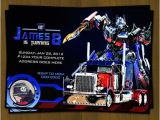 Transformer Birthday Invitations Optimus Prime Transformers Birthday Invitation From
