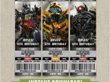 Transformer Birthday Invitations Printable Free Transformers Birthday Ticket Invitation Instant Download