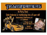 Transformer Birthday Invitations Transformers Bumblebee Custom Birthday Invitation