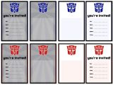 Transformers Party Invitations Free Printable Printable Transformers Birthday Party Invitations