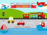 Transportation Birthday Party Invitations Fun Boys toys Transportation theme Boy Birthday Party