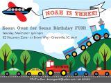 Transportation Birthday Party Invitations Transportation Birthday Invitation Train Plane Automobiles